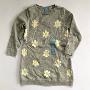Baby Gap Gray Flowers Long Sleeve Sweater Dress 2T